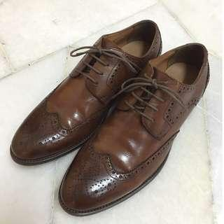 PEDRO BURNISHED LEATHER BROGUE/OXFORD SHOES