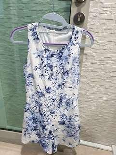 Floral romper in blue and white
