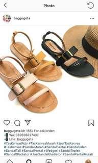 #SuperDeal Sepatu Sendal Santai Warna Hitam || Baggugeta