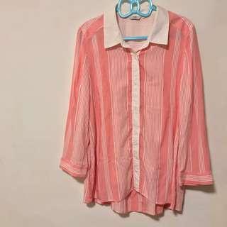 JOAN 粉色條紋寬袖襯衫 嫘縈 前短後長
