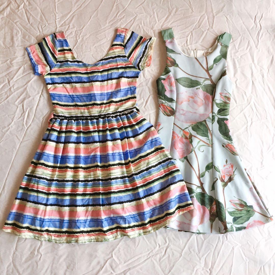 b60116823d9  20 for whole set - stripe watermelon Colorful retro dress