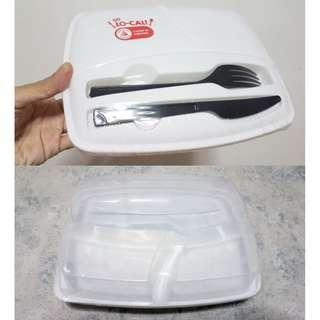 Lunch box with fork and spoon