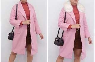 Pink Wool Korean Coat