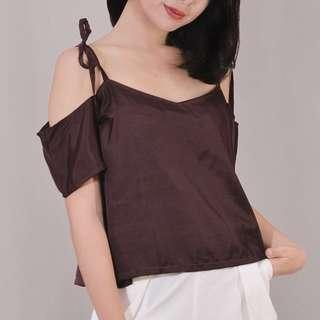 Burgundy off-shoulder cropped top with ribbon