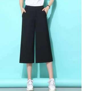 High waist black pant 高腰黑色七分裤宽松阔腿裤