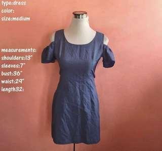 Blue dress with shoulder cut out