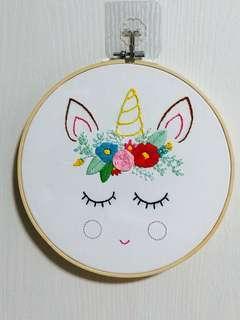 Unicorn embroidery wall art