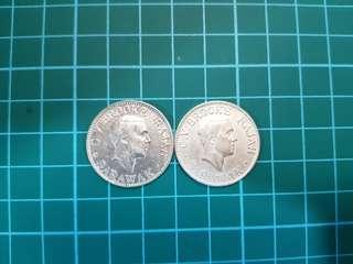 2 x Sarawak 1924 10 cent
