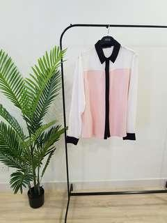 Atmosphere Soft Pink and White Blouse