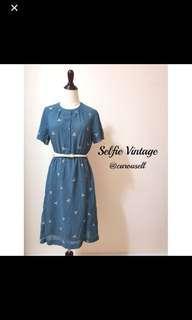 🚚 Vintage Teal Geometric Print Dress