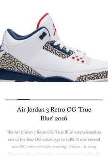 522ab3a44c8546 Air Jordan 3 Retro OG True Blue