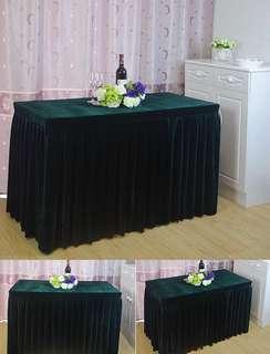 Black Velvet Table Skirting for rent