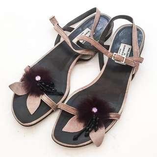 Auth PHILOSOPHY DI ALBERTA FERRETTI Embellished Strappy Sandals Flats EU 38 EUC