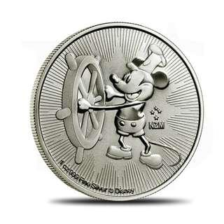 2017 Disney Steamboat Willie 1 oz Silver Coin (with Capsule)
