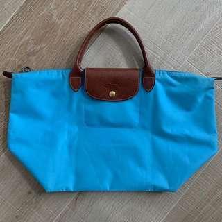 (正貨) Longchamp 淺藍 手挽袋 Light Blue M Size Handbag