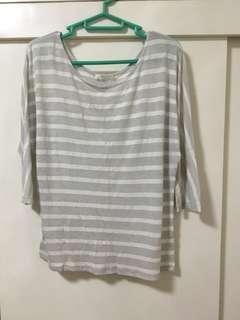 Promod White Striped Top