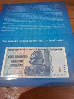 🚚 The world's largest denomination banknote Republic of Zimbabwe One hundred trillion dollars. S/N: AA4105781. UNC condition.
