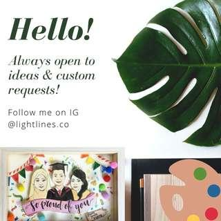 Portrait commissions - gift cards, mugs and frames