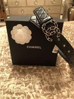 1000% Authentic Chanel Black And Gold Leather Belt