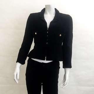 Auth CHANEL CC Vintage 96A Black Silk Spandex Gold Buttons Jacket FR40 EUC