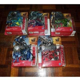 Set of 5 : BIB Deluxe class Dinobots Transformers Movie 4