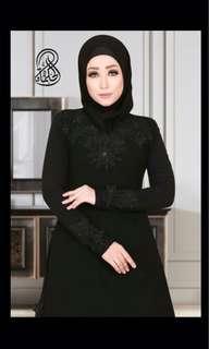 Al-Hikmah Black Abaya with Flowers Embroideries