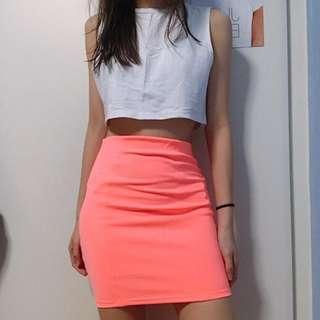 Pull & Bear Neon Pink Pencil Skirt