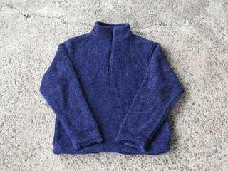 🚚 深藍半拉毛絨古著上衣