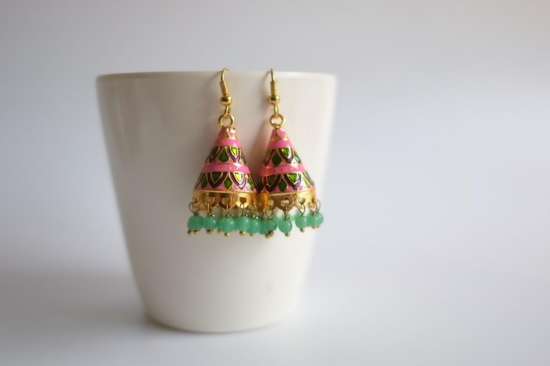 印度手繪叮叮耳環 流蘇 圓錐形 A016 India earrings