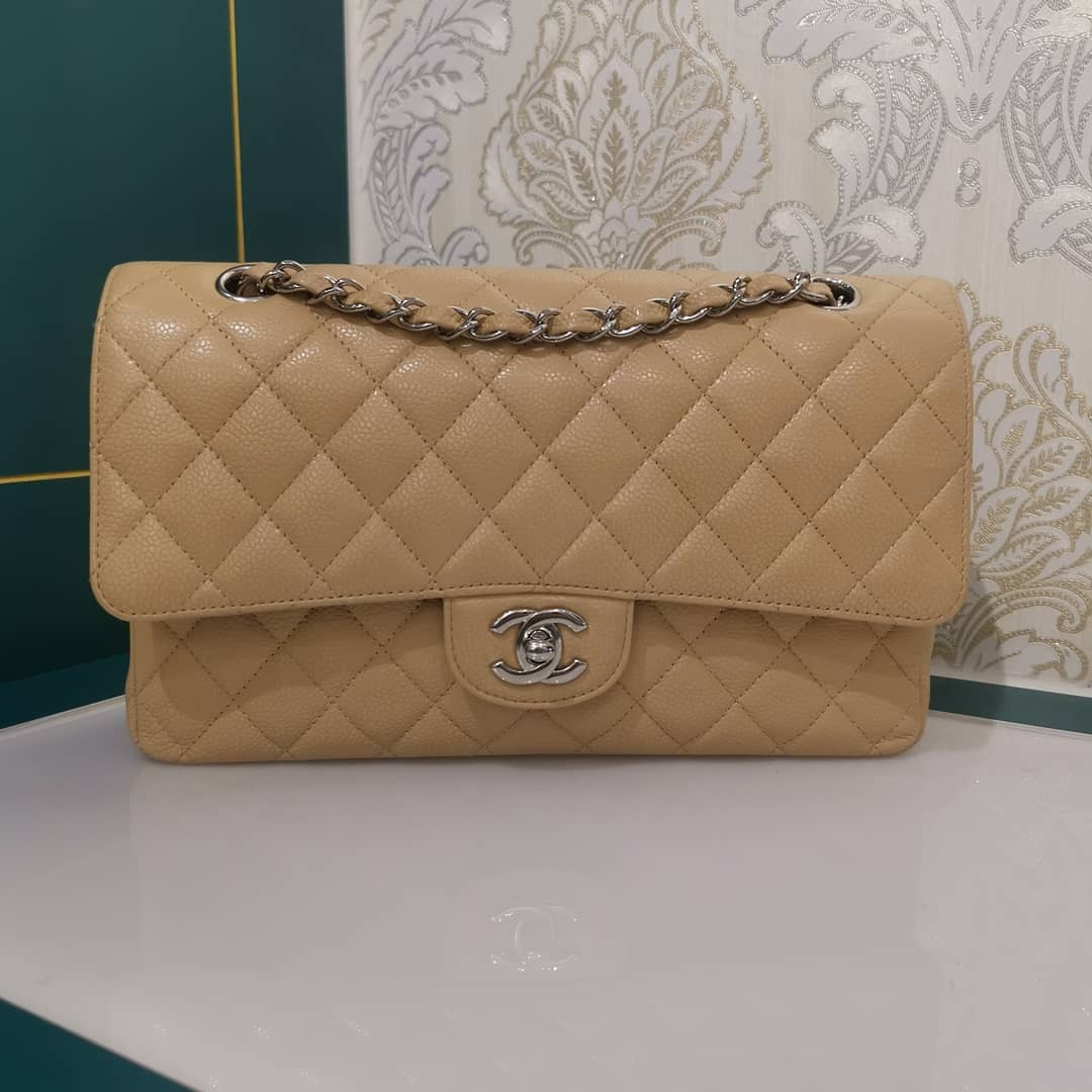 09d49388a071ec ❌RESERVED ❌✨Almost New Chanel Medium Classic Double Flap Caviar Beige with  SHW, Luxury, Bags & Wallets, Handbags on Carousell