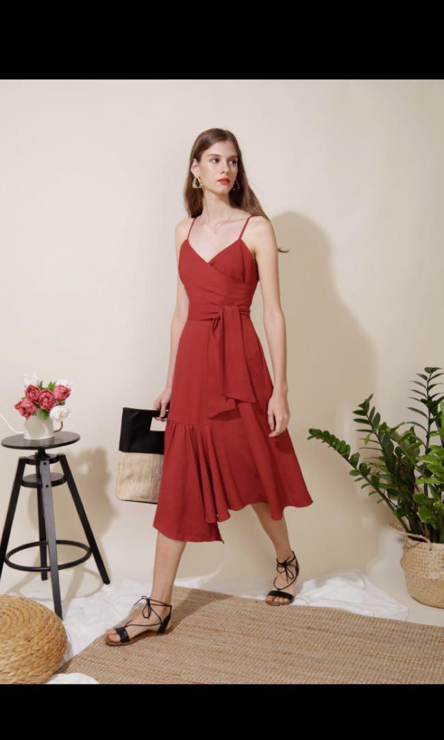 d94a0e2605 AndWellDressed Trifle Asymmetric Ruffle Hem Midi Dress (Rust ...