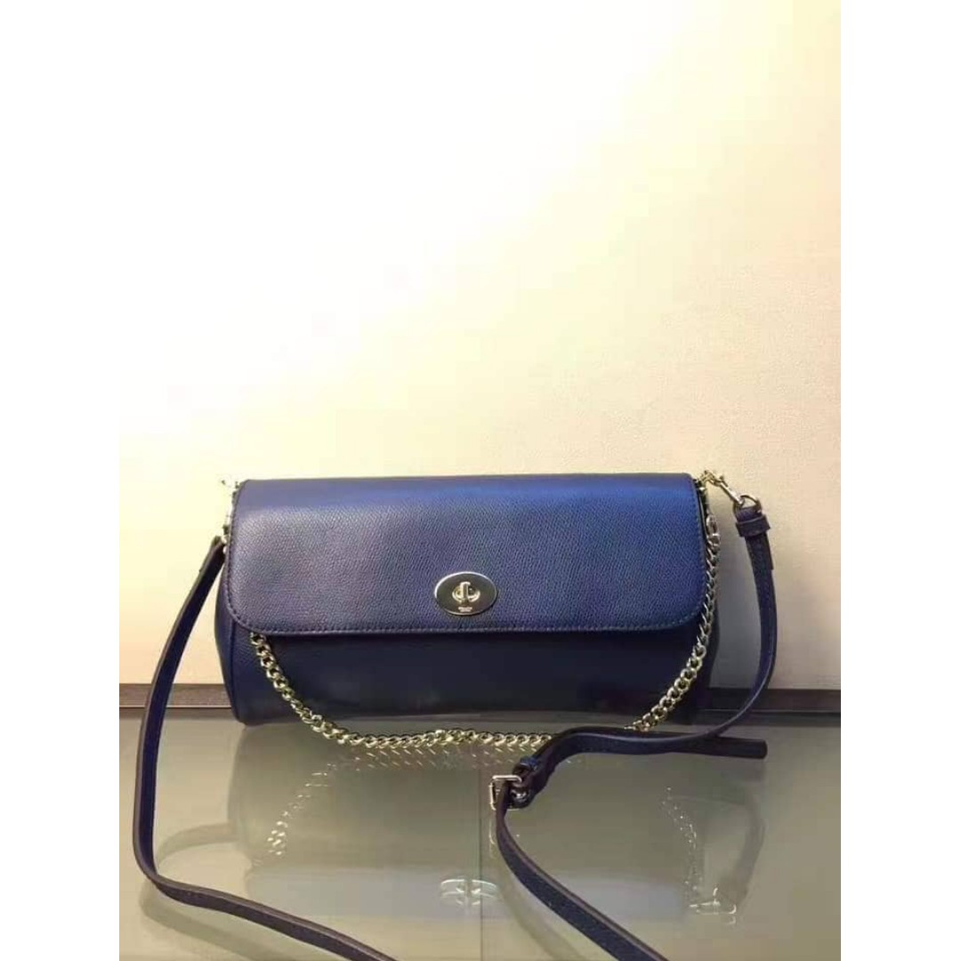 e28d11a0b502 Authentic Coach Crossbody In Crossgrain Leather Midnight Blue Medium ...