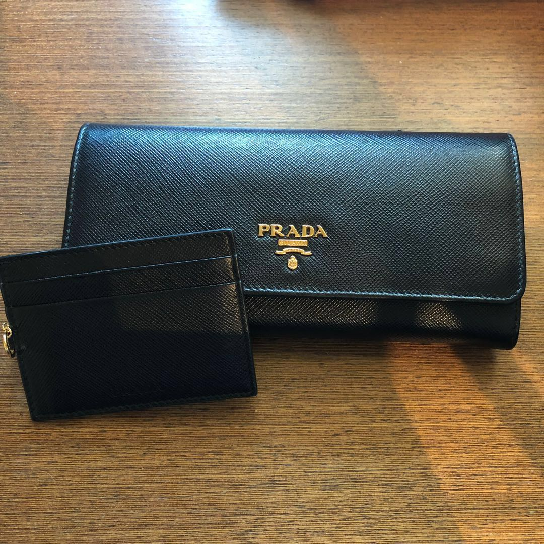 63c22b1d4bce Authentic Prada Textured Leather Continental Wallet, Women's Fashion ...
