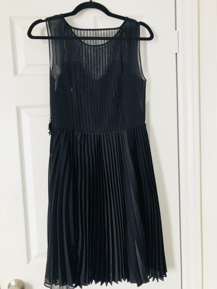 BCBG Black Flowery Cocktail Dress