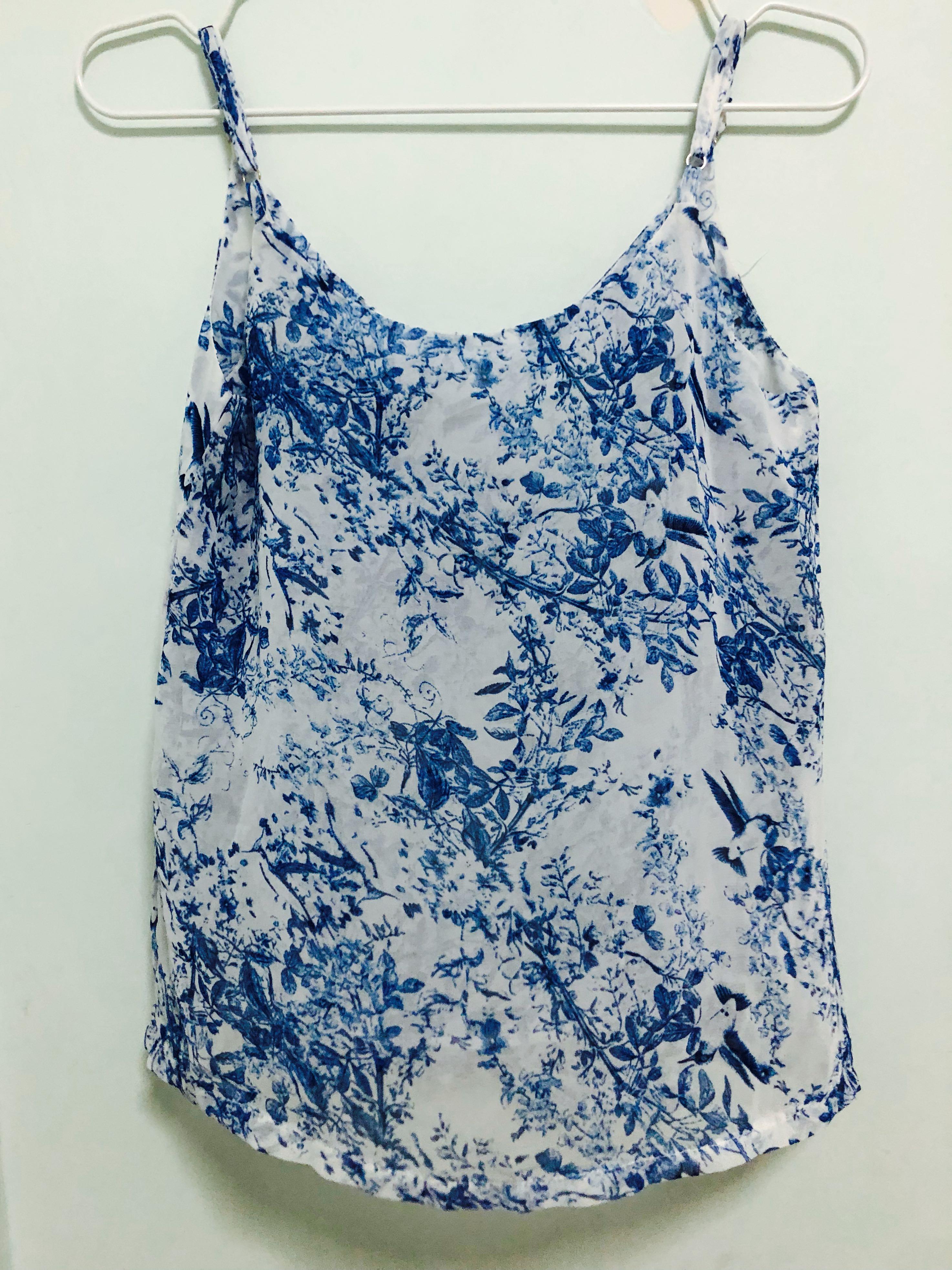 952b2fc93a37f5 Blue Floral Chiffon Top