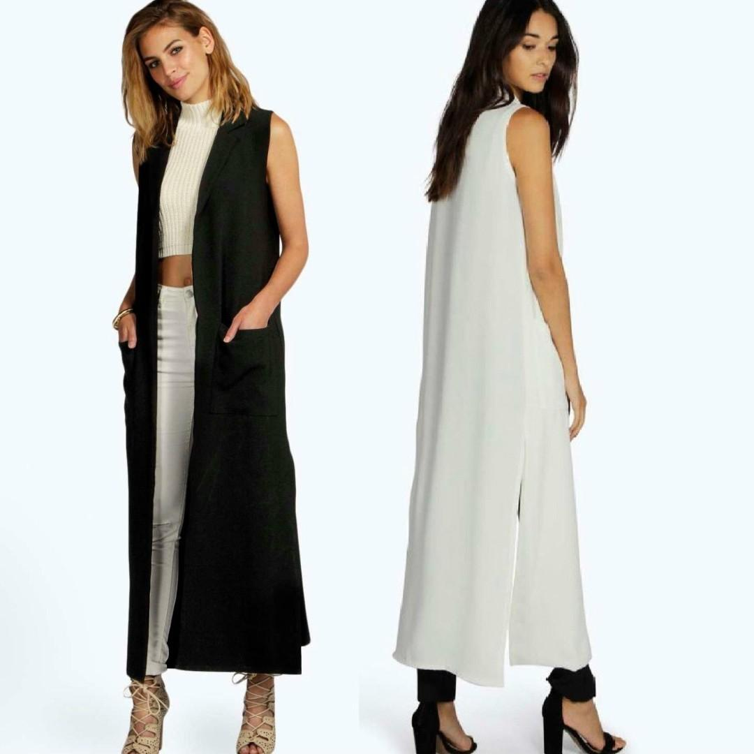 BOOHOO white maxi duster sleeveless collared tailored oversize split side showpo prettylittlething glassons