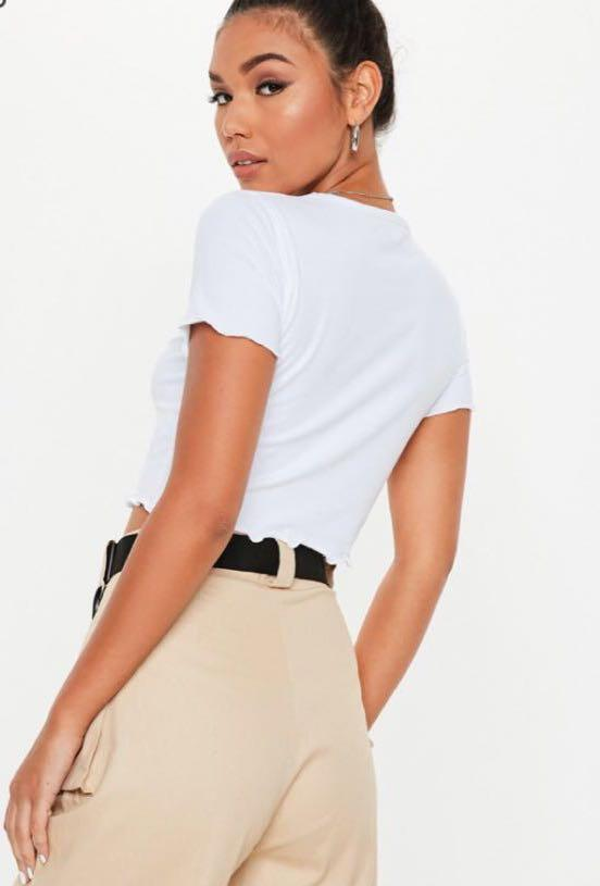 Brand new MISSGUIDED WHITE LETTUCE HEM CROP TOP SIZE 4