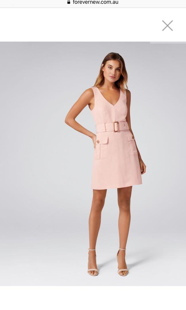 FOREVER NEW SASHA BELTED SAFARI DRESS NUDE PINK SIZE 8