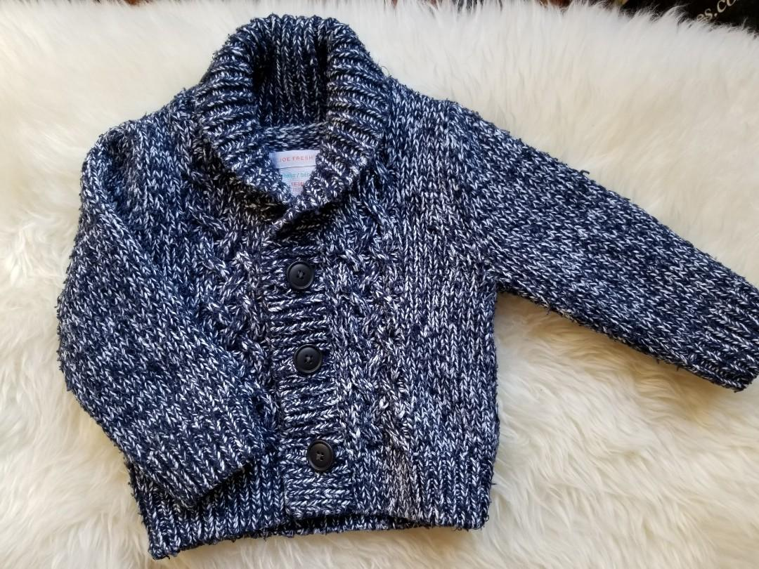 Grandpa shawl cardigan. Size 12 to 18 months. Excellent condition. Super adorable. Can be worn as a layering item to dress up any outfit and keep your baby cozy warm. Pick up Kingston and Main for $10 or Yorkville for $11.