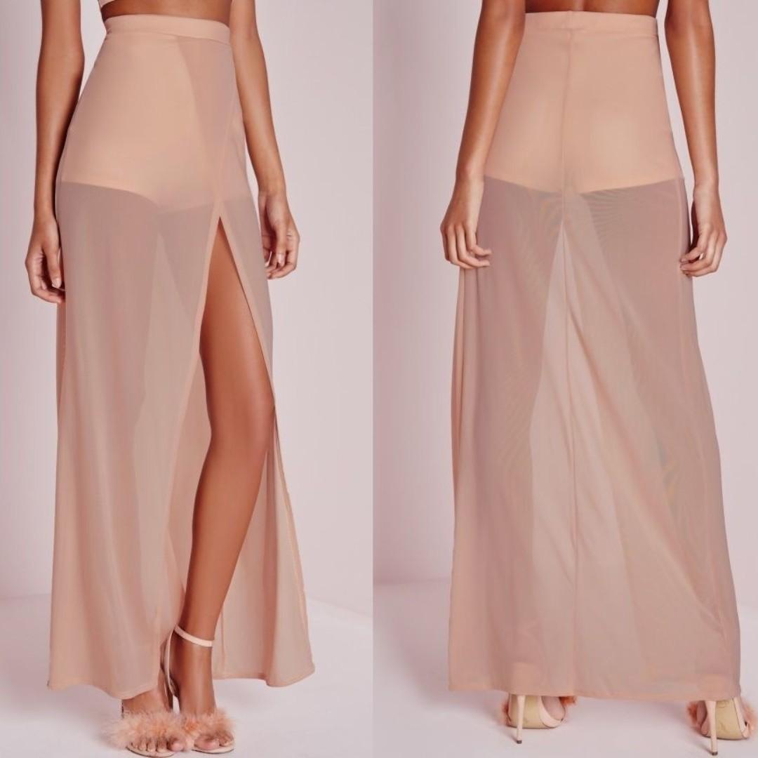 MISSGUIDED maxi shorts nude sheer mesh detail bossa house of cb hotmiamistyles Meshki fashionnova
