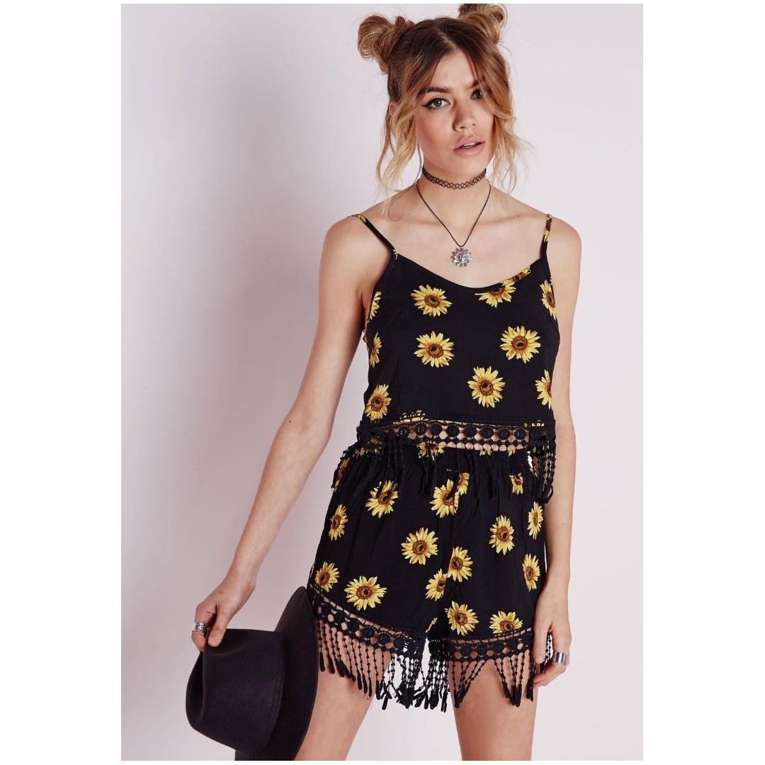 MISSGUIDED sunflower shorts crochet trim black floral festival boho showpo prettylittlething boohoo fashionnova