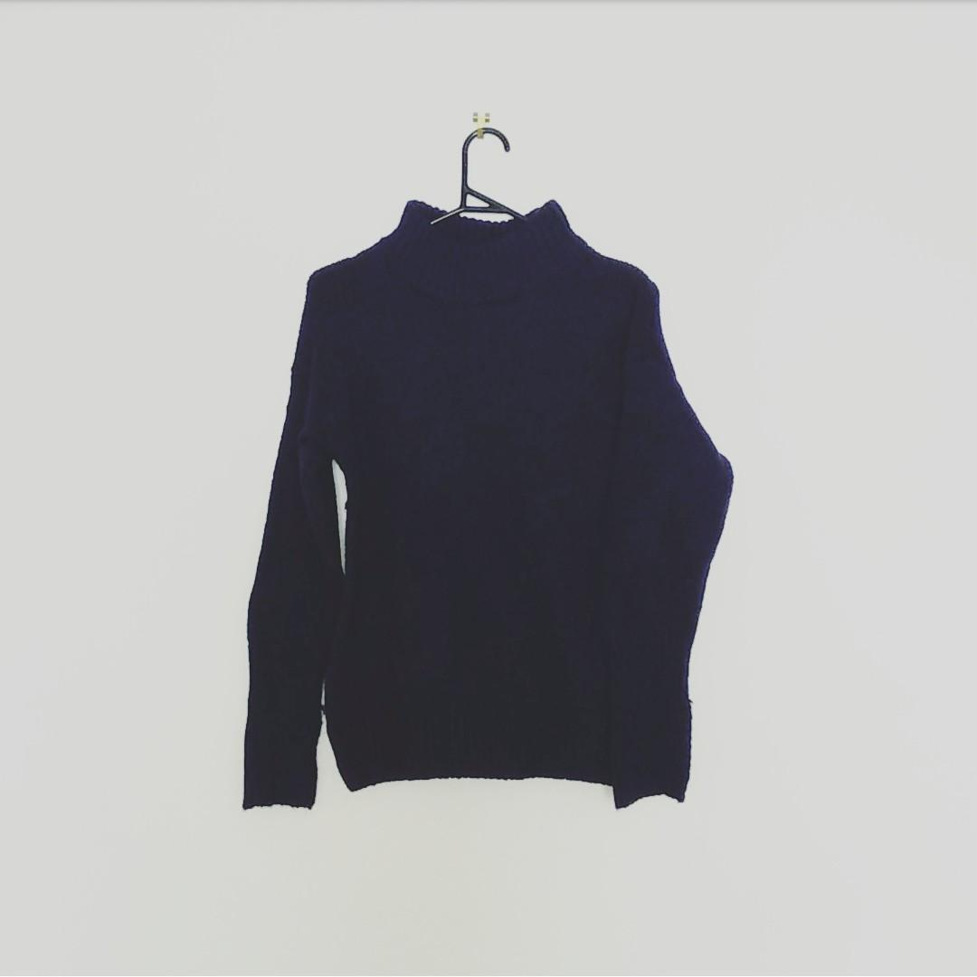 Mock neck navy knit sweater