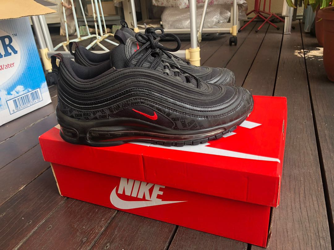 5b804ad6c7 Nike Air Max 97 black red reflective with red tick, Men's Fashion ...