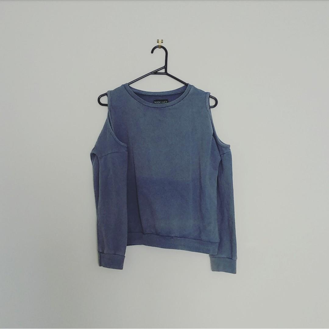 Nude lucy - blue cold shoulder sweater