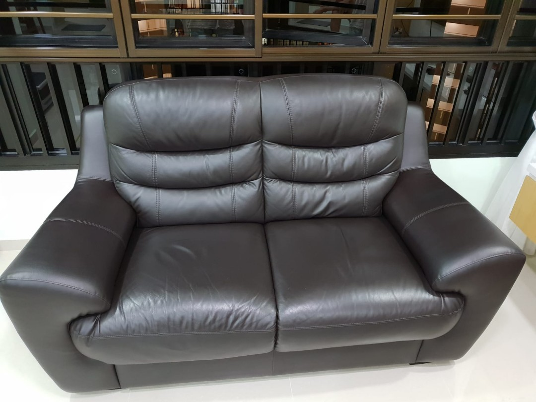 Prime Pottery 2 Seater Sofa Half Leather Used For 1 Year Download Free Architecture Designs Rallybritishbridgeorg