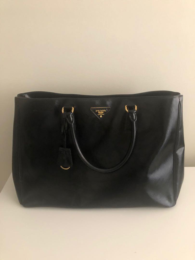 Prada Saffiano Vernice Gardener Tote Bag