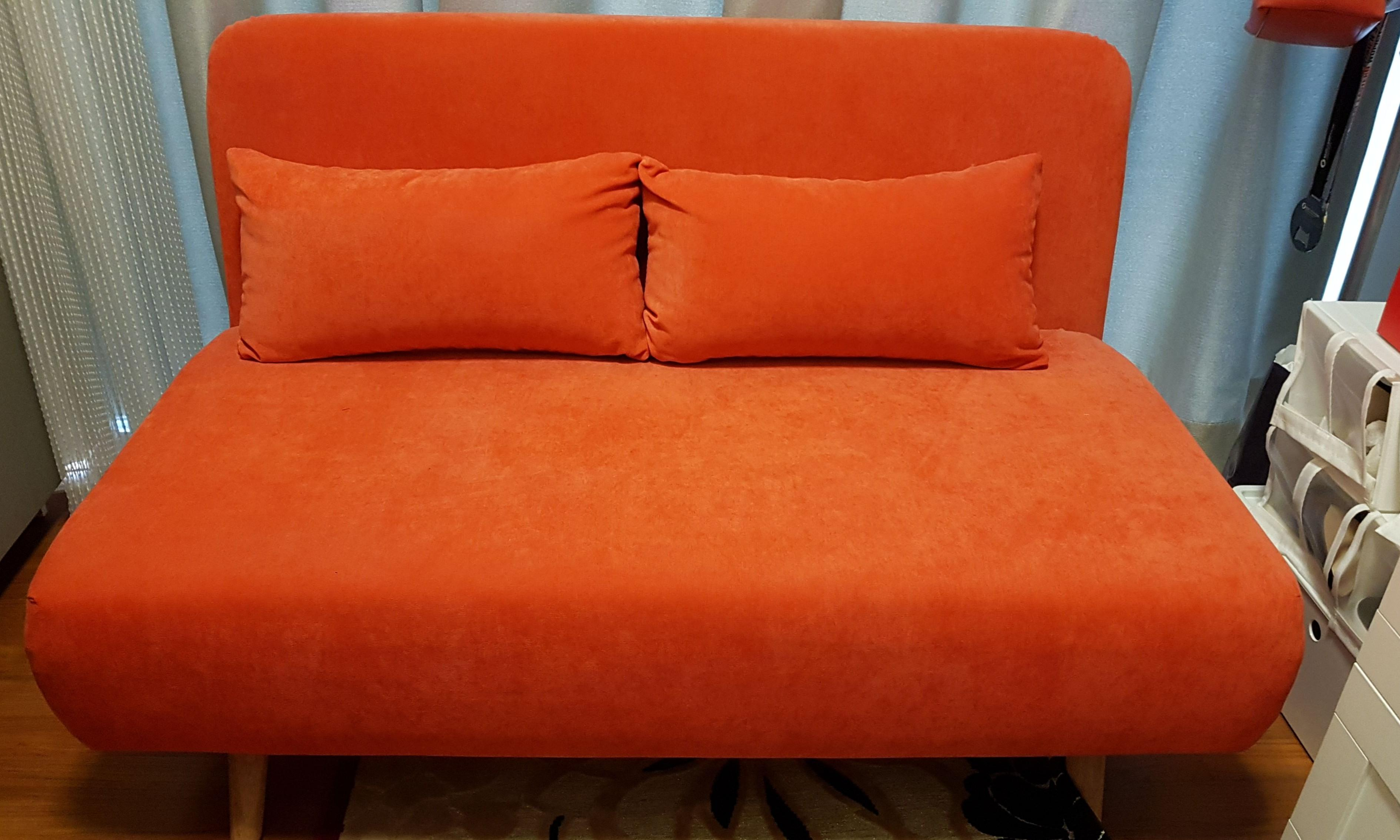 Preloved sofa bed in suede fabric
