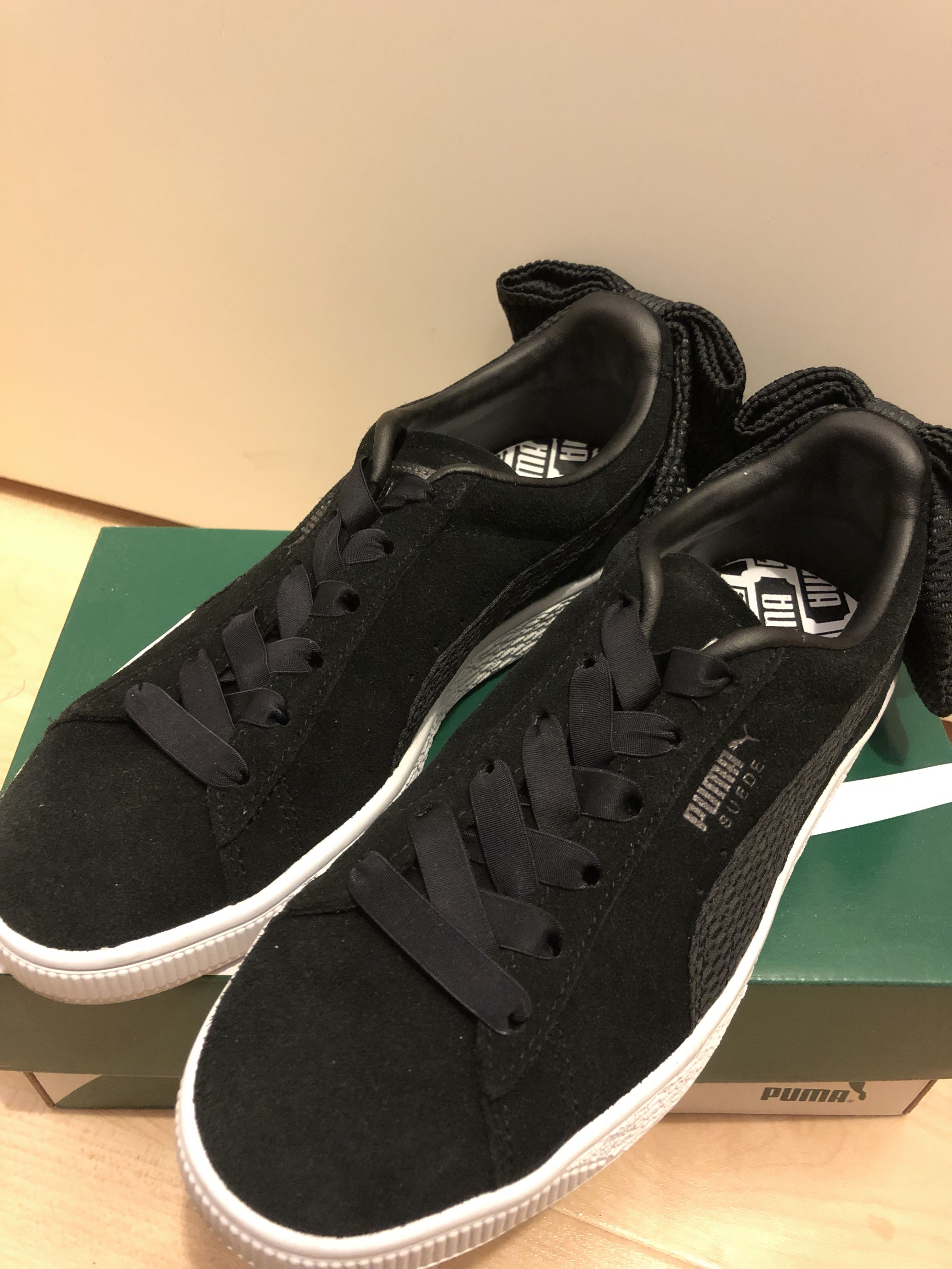 Puma Suede Bow Uprising Wn s 波鞋黑色black trainers 027c7f281