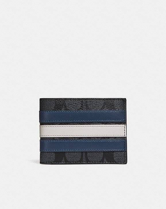 3b7bcd4c Slim Brand NEW Coach Billfold Wallet In Signature Canvas With Varsity Stripe