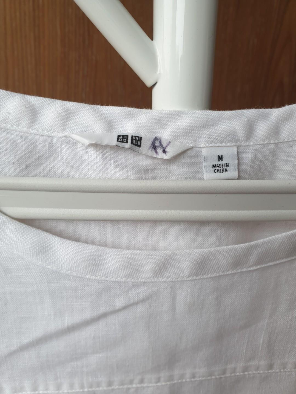 Uniqlo Loose White Linen Blouse